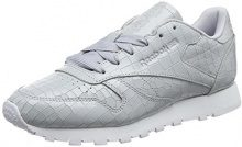 Reebok CL Lthr Crackle, Scarpe da Ginnastica Donna, Grigio (Cloud Grey/White), 38 EU