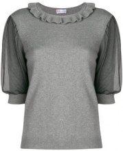 - Red Valentino - tulle puff sleeve sweater - women - cashmere/angora/lana/fibra sinteticafibra sintetica - S, M, L - di colore grigio