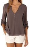 AIYUE Camicia Donna Collo a V Maniche Lunghe in Chiffon Camisetta Bluse Basic Estivo Causal Allentato Colore Solido Top