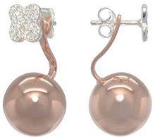 Melina,orecchini da donna Vario-Duo, combinazione di orecchini a lobo e pendente, quadrifoglio e sfera dorata, oro rosa, zirconia e argento 925, 1500218