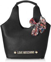 Love Moschino Borsa Bonded Pu - Borse a secchiello Donna, Nero, 14x29x43 cm (B x H T)