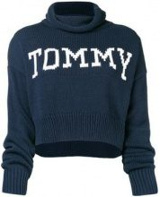 - Tommy Jeans - Maglione con logo - women - acrilico/cotone - S - di colore blu