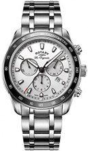 Rotary GB90169/02 Orologio Cronografo da Polso, Uomo, Cinturino in Acciaio Inossidabile, Argento