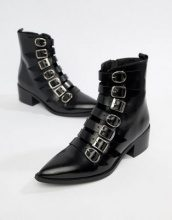 E8 By MIISTA - Tuva - Stivali bassi in pelle neri multifibbia