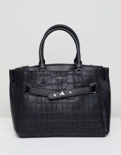 Alma - Maxi borsa nero coccodrillo con fibbia sul davanti