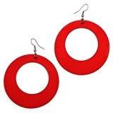 Idin Jewellery-Orecchini pendenti in legno, misura grande, colore: rosso-Orecchini pendenti, a cerchio, lunghezza: circa 85 mm, diametro: 65 mm e legno)