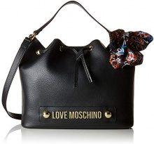 Love Moschino Borsa Bonded Pu - Borse a secchiello Donna, Nero, 15x26x37 cm (B x H T)