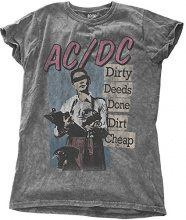 AC/DC Dirty Deeds Done Dirt Cheap, T-Shirt Donna, Nero (Charcoal Grey), 44(Dimensioni Produttore: Large)