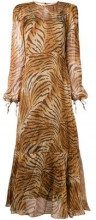 - Twin - Set - sheer tiger print dress - women - fibra sintetica - 42 - color marrone