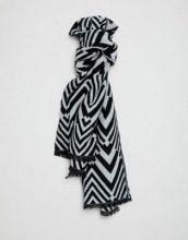 Sciarpa lunga oversize con motivo a zigzag a blocchi monocromatici
