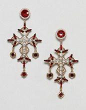 Orecchini oro con croce stile vintage con gioielli e perle