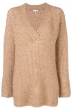 - Ganni - ribbed v - neck sweater - women - mohair/fibra sintetica/lana - S, M - color carne