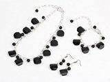 TreasureBay agata nera e Cristallo Perline Collana, bracciale e orecchini set di gioielli ciondolo stile, spediti in una lussuosa confezione regalo