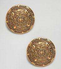 Dominique - Orecchini appariscenti a clip con moneta oversize ornata placcata oro