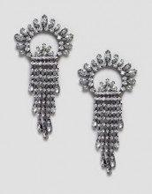 Orecchini con ventaglio di cristalli e fili grigio piombo