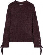 FIND Pullover con Maniche Stringate Donna, Rosso (Burgundy), 46 (Taglia Produttore: Large)