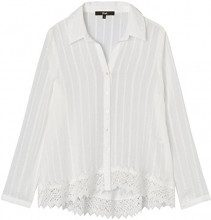 FIND Lace Trim  Camicia Donna, Avorio (Cream), 44 (Taglia Produttore: Medium)