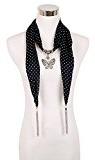 Lureme® bohemien stile tono rodio annata puntini nappe modello cava collana pendente sciarpa farfalla (01003138-2) -Nero e nero