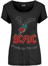 ACDC Acdc Women's Fly On The Wall Tour, T-Shirt Donna, Nero (Charcoal), 46 (Taglia Produttore: 14)