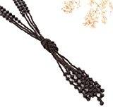 Collana da Donna Lunga Multifilo con Perline Nero Carbone (Lunga - 78 cm)