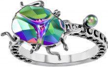 Anello con motivo Magnetized, multicolore, Placcatura rutenio nera