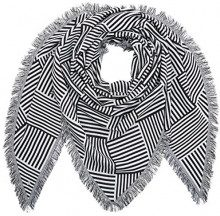 Tom Tailor Denim Triangle Scarf with Stripes, Sciarpa Donna, Bianco (White2 1002), Taglia unica