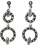 Designer Jewellery-Orecchini pendenti, con pietre di Marcasite, motivo: doppio cerchio
