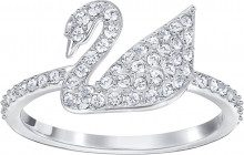 Anello Iconic Swan, bianco, placcatura rodio