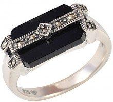 Esse Marcasite-Anello in argento Sterling, onice nera e Marcasite, in Art Deco, misura N