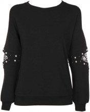 Pullover nero con perle e dettagli in pizzo sulle maniche JETBLACKA996