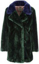Cappotto in eco-pelliccia blu e verde SE2VERDE/BLU