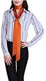 Prettystern stretto 200 cm doppia pala raso di seta satin donna fazzoletto sciarpa cravatta skinny foulard vari colori