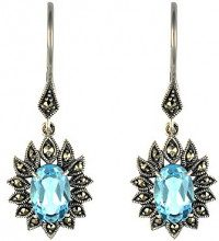 Esse Marcasite Donna 925 argento Ovale blu Topazio Marcasite FINEEARRING