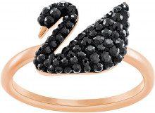 Anello Iconic Swan, nero, placcato oro rosa